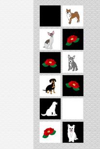 犬たちと椿の花のシンプルなイラスト葉書のイラスト素材 [FYI00885700]