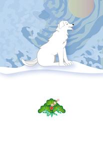 白い犬と水色の逆巻く波のイラストのポストカードのイラスト素材 [FYI00885706]