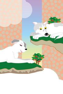 二匹の犬と万両の和風の縦型ポストカードのイラスト素材 [FYI00885708]