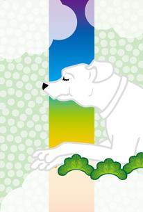 白い犬の緑の縦型メッセージカードのイラスト素材 [FYI00885710]