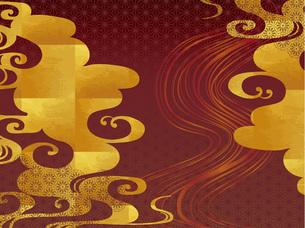 金の波と赤の和柄の背景のイラスト素材 [FYI00885922]