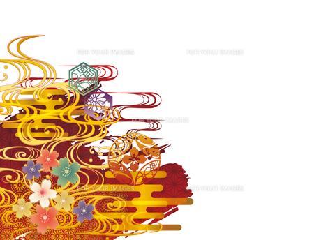 金の波と和柄背景素材のイラスト素材 [FYI00885923]