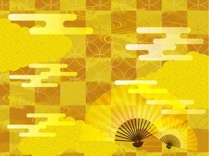 金と扇子の和柄背景素材のイラスト素材 [FYI00885926]