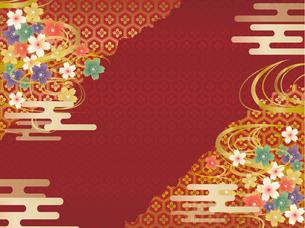 赤と金の和柄の背景素材のイラスト素材 [FYI00885927]
