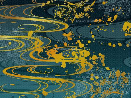青と金の和柄背景素材のイラスト素材 [FYI00885929]