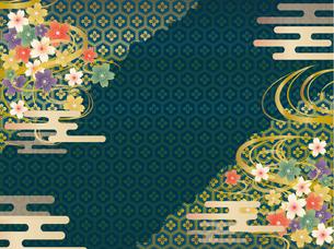 青と金の和柄の背景素材のイラスト素材 [FYI00885932]
