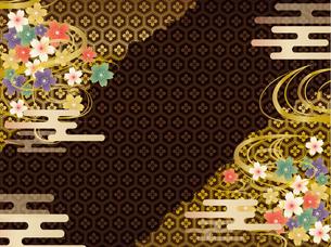 黒と金の和柄の背景素材のイラスト素材 [FYI00885935]