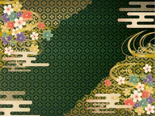 緑と金の和柄の背景素材のイラスト素材 [FYI00885936]