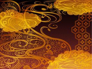 金の和柄波背景素材のイラスト素材 [FYI00885937]