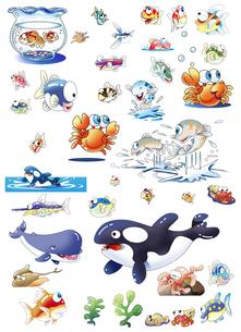 海や川の生き物のイラスト素材 [FYI00886208]