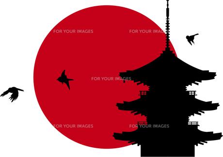 五重の塔に朝日のイラスト素材 [FYI00886210]