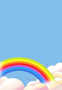 虹のかかる青空と雲のイラスト素材 [FYI00886226]