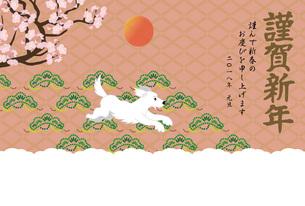 犬と梅の花の和風イラスト年賀状テンプレートのイラスト素材 [FYI00886271]
