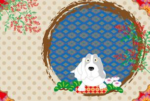 犬と南天の実のイラストのポストカードの写真素材 [FYI00886273]