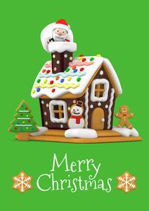 メリークリスマス お菓子の家とサンタクロース 3Dイラストのイラスト素材 [FYI00886284]