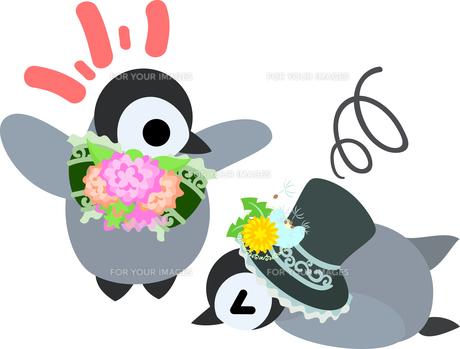 おしゃれで可愛い赤ちゃんペンギンのイラストのイラスト素材 [FYI00886663]