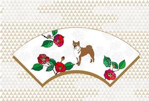 柴犬と梅椿の花の和風ポストカードのイラスト素材 [FYI00886914]