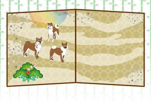 柴犬と日の出の和風グリーティングカードのイラスト素材 [FYI00886918]