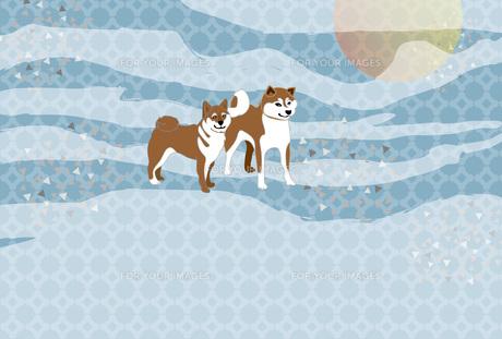 柴犬と日の出の和風グリーティングカードのイラスト素材 [FYI00886920]