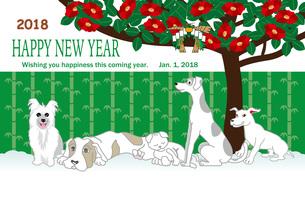 犬と猫と椿の花のポップな年賀状テンプレート 戌年2018のイラスト素材 [FYI00886922]