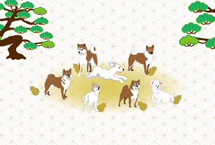 柴犬とひょうたんと松の木の和風イラストのポストカードのイラスト素材 [FYI00887084]