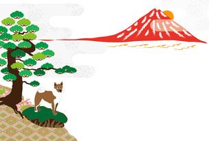 柴犬と赤富士と松の木の和風イラストのポストカードのイラスト素材 [FYI00887088]