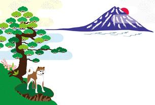 柴犬と日の出の富士山と松の木の和風イラストのポストカードのイラスト素材 [FYI00887090]