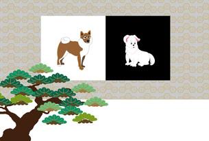 柴犬と松の木の和風イラストのポストカードのイラスト素材 [FYI00887094]