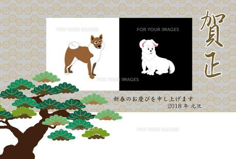 柴犬のイラスト年賀状テンプレート戌年2018のイラスト素材 [FYI00887095]
