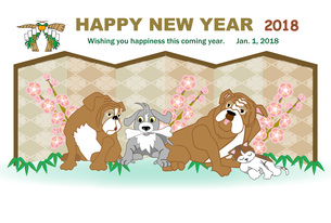 犬たちと猫のイラストの年賀状テンプレートのイラスト素材 [FYI00887367]