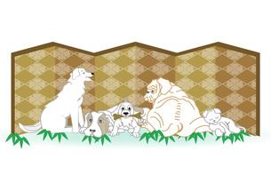 白い犬たちと猫のイラストのメッセージカードのイラスト素材 [FYI00887369]
