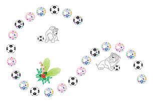 犬とサッカーボールのイラストのメッセージカードのイラスト素材 [FYI00887376]