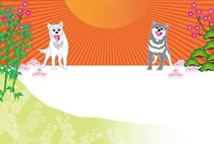 和風でポップな柴犬と日の出と梅のイラストのポストカードのイラスト素材 [FYI00887379]