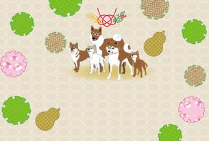 和風でポップな柴犬とひょうたんと梅のイラストのポストカードのイラスト素材 [FYI00887380]