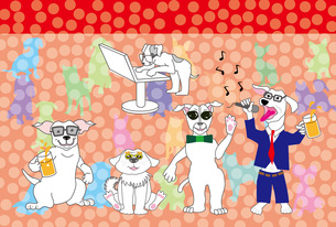 カラオケやネットする犬たちのイラストのポストカードのイラスト素材 [FYI00887384]