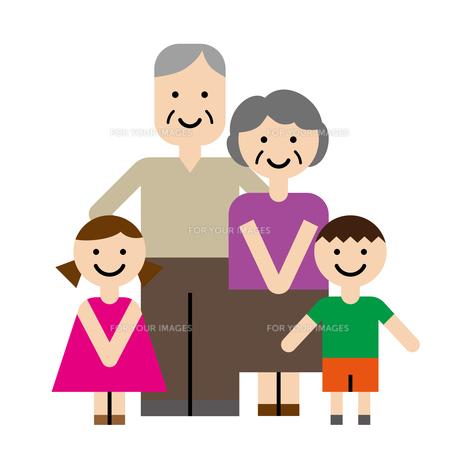 祖父母と孫のイラスト素材 [FYI00887571]