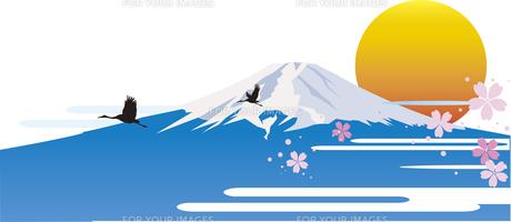 富士山と初日の出のイラスト素材 [FYI00887723]