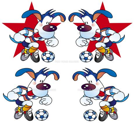 サッカーの犬のマスコットキャラクターのイラスト素材 [FYI00887853]