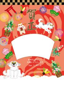 ポップな白い犬と鳥居のお正月写真フレームの年賀状テンプレートのイラスト素材 [FYI00888188]