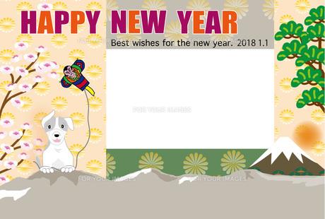 犬と凧揚げと富士山の和風イラストの写真フレームの年賀状テンプレートの写真素材 [FYI00888252]
