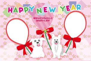 可愛い犬と風船のピンクの写真フレームの年賀状テンプレートの写真素材 [FYI00888551]
