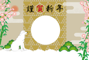 白い犬と梅の花と竹と松の和風イラスト写真フレームの年賀状テンプレートの写真素材 [FYI00888579]