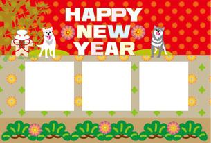 犬と竹のイラストの和風ポップな写真フレームの年賀状テンプレートのイラスト素材 [FYI00888618]