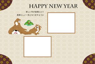 犬と松のイラスト写真フレームの年賀状テンプレートのイラスト素材 [FYI00888620]