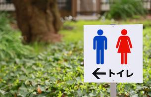 公園のトイレの表示板の写真素材 [FYI00889371]