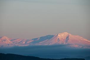 夕陽を浴びて輝く雪山の写真素材 [FYI00889601]