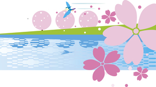 桜咲く土手のイラスト素材 [FYI00889642]