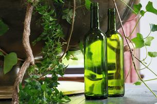 テーブルの上の緑のボトルと観葉植物の写真素材 [FYI00889934]