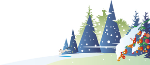 雪に喜ぶ犬のイラスト素材 [FYI00889972]