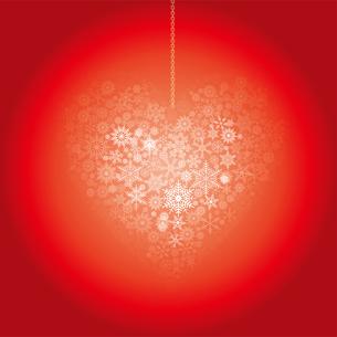 クリスマスのイメージの背景イラスト|雪の結晶で描いたハート|Merry Christmasのイラスト素材 [FYI00889976]